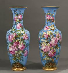 A Pair of Berlin Blue-Ground Porcelain Vases. K.P.M., Germany Second half of 19th century
