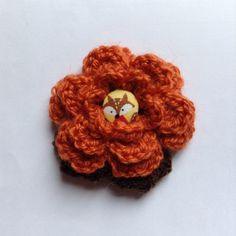 Crochet Flower Brooch Corsage in Burnt Orange