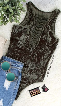 Crushed Velvet Lace Up Bodysuit OLIVE