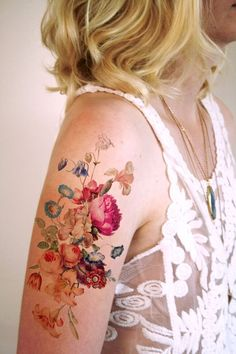I love vintage inspired floral tattoos! This temporary tattoo is made with a vintage image of a pretty floral arrangement. ............................................................................. #TraditionalTattoos