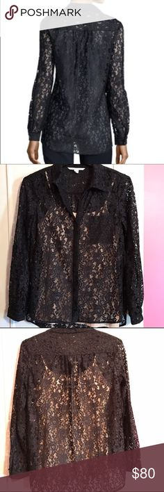 DVF Black Lace Lorelei Two Sheer Button Up Top Absolutely stunning Diane von Furstenberg black sheer button up top. Buttoned cuffs and buttons right above the elbow as well to keep in place if you want to wear them rolled. Pretty flower lace design. 100% nylon. Lorelei two style. EXCELLENT condition. Diane von Furstenberg Tops Blouses