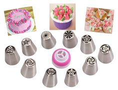 Make Flowers In Seconds! Russian Icing Piping Tips Cake Pastry Decorating Nozzle Kit (10 PCS) 1 Coupler => Startling review available here at : baking essentials