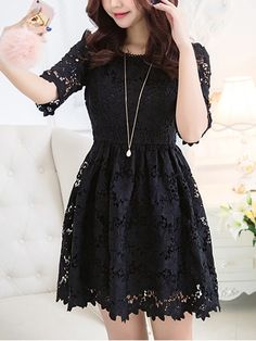 Stella Lace Dress (Black 4XL*1 Ready Stock) - $49.90 SGD