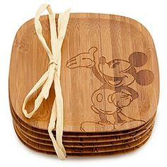 Bamboo Mickey Mouse Coaster Set -- 6-Pc.
