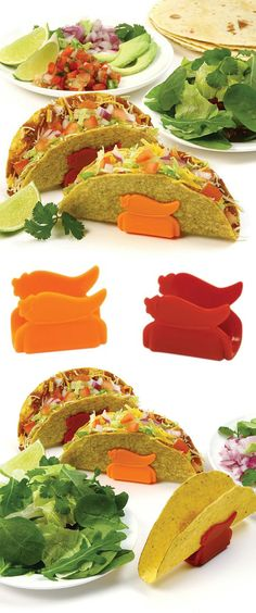 Taco Amigo Stands // stops tacos from tipping over! EVERY single time I prepared tacos... I wished for a product like this!