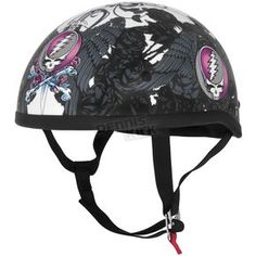 River Road Womens Black/Pink/White Grateful Dead Flying Steal Your Face Half Helmet - 645337  Harley Motorcycle