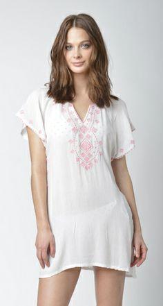 Lisa Curran Swim - Jasmine Tunic in White/Coral