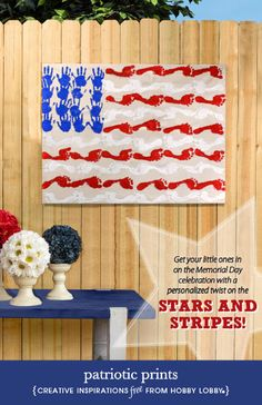 Hobby Lobby Project - Patriotic Prints - crafts, art supplies, paint, wood, kids, flag, Memorial Day, Independence Day, Fourth of July, July Fourth, floral, outdoor decor, footprints, handprints