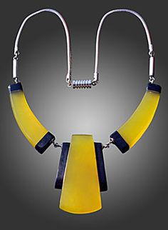 Jakob Bengel - 1930s. Liberation of everyday, 'artifical' materials, those having no intrinsic value, for jewelry design was first possible in Europe in the early years of the 20th century. First-rate artists and designers experimented with everything that lent itself to jewelry - glass, horn, enamel, textiles, brass and other alloys, e.g., tombac; with hard rubber, celluloid, bakelite, paper, paint and wood. 'Material snobbism' was rejected by young designers; suited to Art Deco and Bauhaus