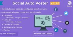 Social Auto Poster is a WordPress Plugin being distributed by Codecanyon. Social Auto Poster lets you automatically post all your content to social - Facebook O, Mobile App Templates, Free Graphics, Blogger Templates, Premium Wordpress Themes, Wordpress Plugins, Best Web, Social Networks, Website