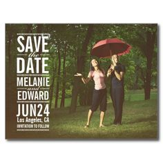 White Text over Photo Save the Date Postcard.  Artwork designed by pinkpinetree