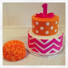 Pink Chevron and Orange Polka Dot 1st Birthday Cake