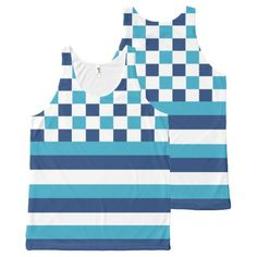 Geometric pattern in blue All-Over print #tank #top #summer #outfit