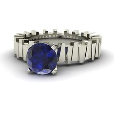 Natural Blue Sapphire Unique Engagement Ring in Solid 14k White Gold-0.92 Cttw #Diamondere #Solitaire #Engagement