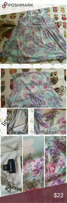 Torrid Sheer Lined Light Blue Floral Dress Torrid Sheer Lined Light Blue Floral Dress Super cute, just too big for me size 26. Has white lining under it. Beautiful pattern. See pics for snags. In great condition otherwise. I HAVE A WHITE SHRUG IN MY CLOSET THAT WOULD GO PERFECT WITH THIS! torrid Dresses Midi