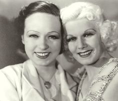 """Jean photographed with her closest friend and secretary, Barbara """"Bobbe"""" Brown in 1932, on the set of RECKLESS in 1935."""