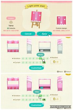 I made a light pink stall with white hearts if anyone's interested? There's also a darker pink one on my profile too - ACQR Animal Crossing Guide, Animal Crossing Villagers, Animal Crossing Qr Codes Clothes, Animal Games, My Animal, Pink Island, Pink Cafe, Color Rosa Claro, Motifs Animal