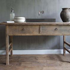 #robuustinterieur#wastafel#tafel#badmeubel#badkamer#hout#oud#eiken#wonen#landelijk#