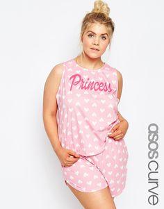 Image 1 ofASOS CURVE Princess Heart Cut Out Vest & Short Pyjama Set