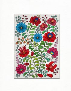 Hungarian Flowers  Original Illustration  by MelaniePearsonDesign, £45.00