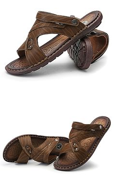 698dc60deb530 Men s Casual summer PU leather sandal Fashion Leather Outfit Barefoot Beach  Casual Sport Outdoor Gladiator Gucci