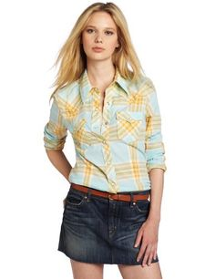 True Religion Women's Long Sleeve Mick Cotton Plaid Western Shirt True Religion. $128.00. Pearl snaps. Machine Wash. Made in China. 100% cotton. Woven top