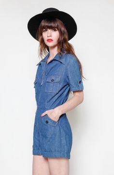 70s denim one piece jumper
