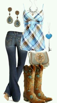 Cowgirls get the blues cute country outfits, country girl style, cute outfits, country Cowgirl Outfits, Country Girl Outfits, Country Girl Style, Cute N Country, Country Fashion, Cowgirl Style, Country Girls, Country Blue, Cowgirl Boots