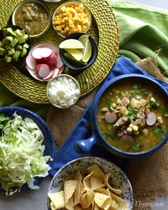 Pozole Verde {Pork & Hominy Stew} with fire roasted poblano, jalapeno and tomatillos.
