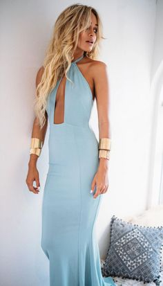 Deep V-neck Party Dress,Long Prom Dress,Sexy Prom Dress,blue Halter Prom Dress,formal Evening Dress Sexy Dresses, Cute Dresses, Beautiful Dresses, Prom Dresses, Formal Dresses, Formal Skirt, Dress Prom, Beach Dresses, Dresses 2016