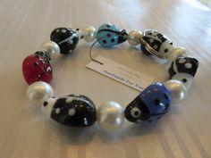 Handmade For You Hands-Free Beaded Bracelet KeyChain Keyring Rainbow Ladybug Lampwork Beads Pearls Stretch Cord Fits Many Sizes K176 by JewelsHandmadeForYou on Etsy