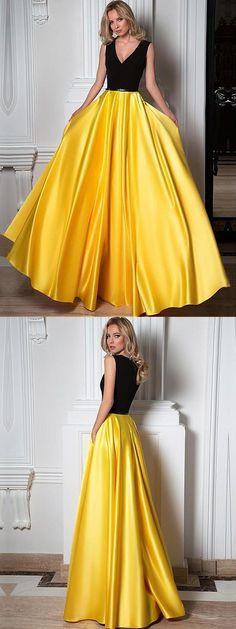 Marvelous Satin V-neck Neckline A-line Evening Dresses With Pockets & Pleats