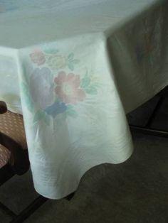 Gorgeous White Antique Irish Double Damask Painted Linen Banquet Tablecloth