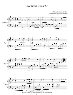 How Great Thou Art (by Tiffany Hobson -- Piano, Solo) Easy Piano Sheet Music, Flute Sheet Music, Piano Music, Piano Lessons, Music Lessons, Lds Music, Music Chords, Printable Sheet Music, Church Music
