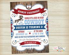 Vintage Cowboy Birthday Invitation // Western Birthday // Wild West Birthday Personalized invitation.
