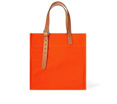 """Etriviere Shopping Hermes shopping tote in orange/natural canvas and leather Measures 16"""" x 17"""" x 6"""". Inside back pocket measures 6.3"""" x 7"""". Strap adjustable to 17""""."""