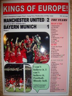Manchester United 2 Bayern Munich 1 - 1999 Champions League final - souvenir print by LilywhiteMultimedia on Etsy