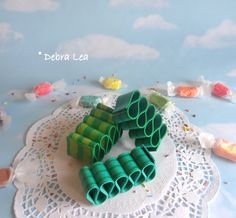 Ribbon Candy Fake Green Realistic Handmade Holiday Christmas Faux Hand Painted RB2 - Imagine Out Loud