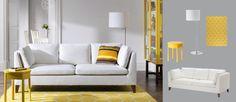 Sofá de 3 plazas STOCKHOLM con funda Röstånga blanco y vitrina y mesa auxiliar amarillas STOCKHOLM