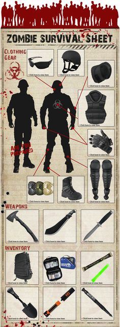 Zombie Survival Sheet - Are You Prepared? Gear Up!!!