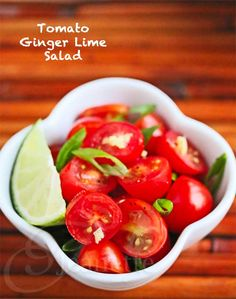Tomato Ginger Lime Salad © Jeanette's Healthy Living #salad #tomato #Asian #recipe