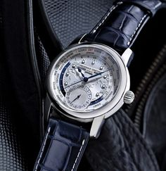 Frederique Constant Worltimer Map Dial On Navy Strap