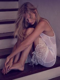 Skivvies by For Love & Lemons Chiffon Lace Trim Slip at Free People Clothing Boutique. Fabulous deep lace trim to the hem.
