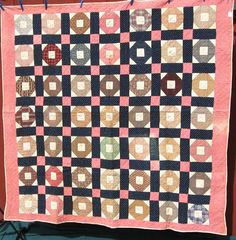 Churn Dash Album, 1882-1888, 72x75, Illinois. This album quilt, made in 1882 to 1888 is presently in the hands of the Yellow Creek Quilt Shop in Pearl City, Illinois, in the north-central part of the state. The inscriptions in each block are written by the same hand in ink, and each block has a name, a location and the date