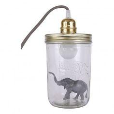 Lampe im Einmachglas zum Aufstellen Elefant Anthrazit  La tête dans le bocal