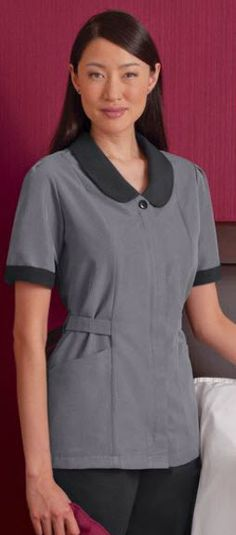 Modern style Microfiber Microcheck Housekeeping Tunic featuring moisture management finish Spa Uniform, Hotel Uniform, Scrubs Uniform, Maid Uniform, Staff Uniforms, Medical Uniforms, Work Uniforms, Modern Housekeeping, Housekeeping Uniform