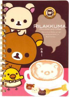 Rilakkuma Bear ring binder notebook coffee San-X