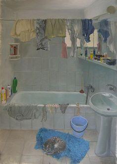 Bathroom Laundry, 2010. Oil on paper, 70 x 48 cm Rebecca Harp