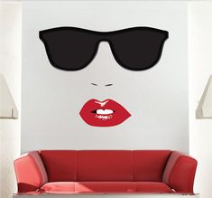 Modern Face Wall Decals Bedroom Sunglasses Wall by PrimeDecal Modern Wall Decals, Wall Mural Decals, Wall Decals For Bedroom, Wall Design, Crafts To Make, Wall Decor, Trending Outfits, Superman, Handmade Gifts