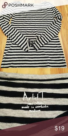 JCREW ARTIST T SHIRT!! Gray and black striped,  excellent condition! Size MEDIUM J. Crew Tops